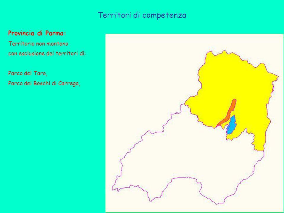 Territori di competenza Provincia di Parma: Territorio non montano con esclusione dei territori di: Parco del Taro, Parco dei Boschi di Carrega,