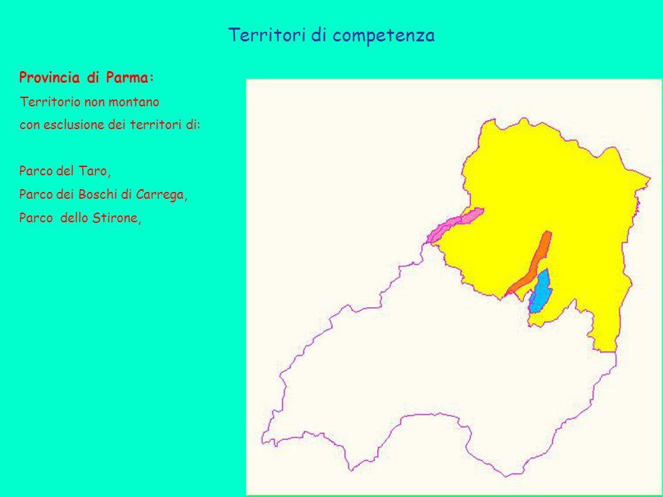 Territori di competenza Provincia di Parma: Territorio non montano con esclusione dei territori di: Parco del Taro, Parco dei Boschi di Carrega, Parco dello Stirone,