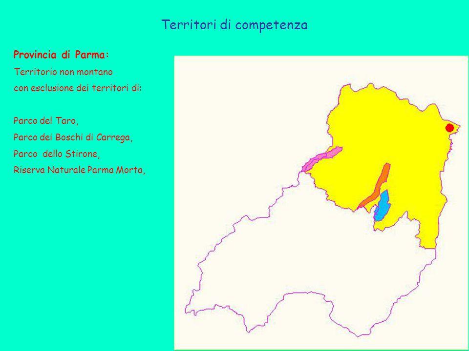Territori di competenza Provincia di Parma: Territorio non montano con esclusione dei territori di: Parco del Taro, Parco dei Boschi di Carrega, Parco dello Stirone, Riserva Naturale Parma Morta,