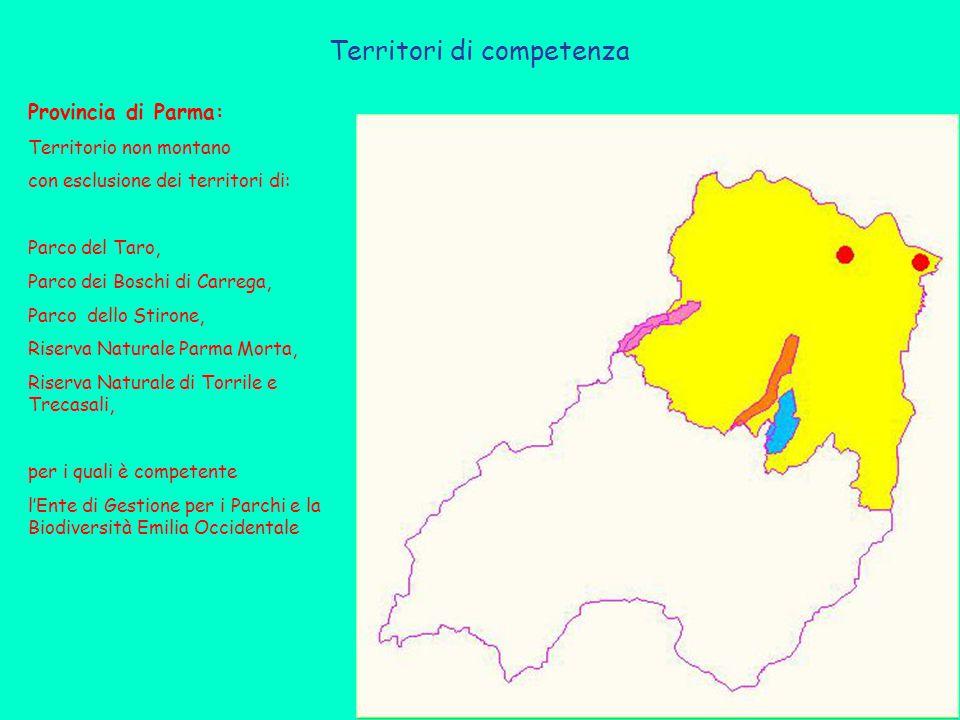 Territori di competenza Provincia di Parma: Territorio non montano con esclusione dei territori di: Parco del Taro, Parco dei Boschi di Carrega, Parco dello Stirone, Riserva Naturale Parma Morta, Riserva Naturale di Torrile e Trecasali, per i quali è competente l'Ente di Gestione per i Parchi e la Biodiversità Emilia Occidentale