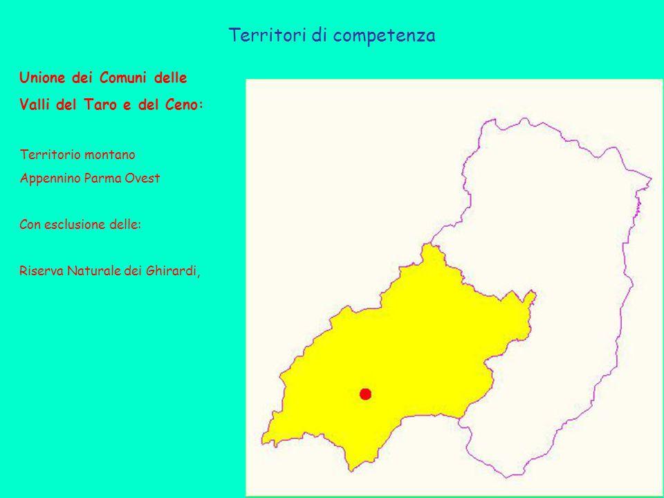 Territori di competenza Unione dei Comuni delle Valli del Taro e del Ceno: Territorio montano Appennino Parma Ovest Con esclusione delle: Riserva Naturale dei Ghirardi,