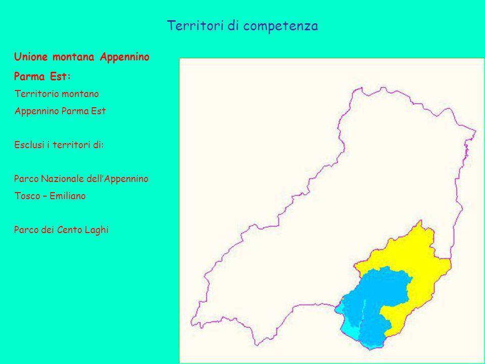 Territori di competenza Unione montana Appennino Parma Est: Territorio montano Appennino Parma Est Esclusi i territori di: Parco Nazionale dell'Appennino Tosco – Emiliano Parco dei Cento Laghi