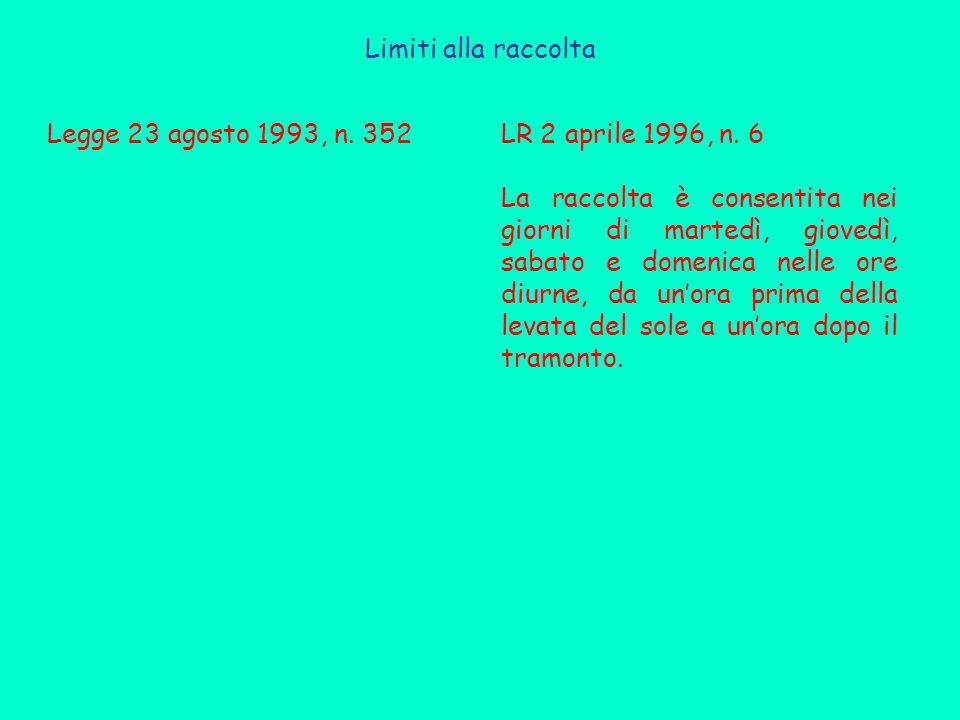 Limiti alla raccolta Legge 23 agosto 1993, n.352LR 2 aprile 1996, n.