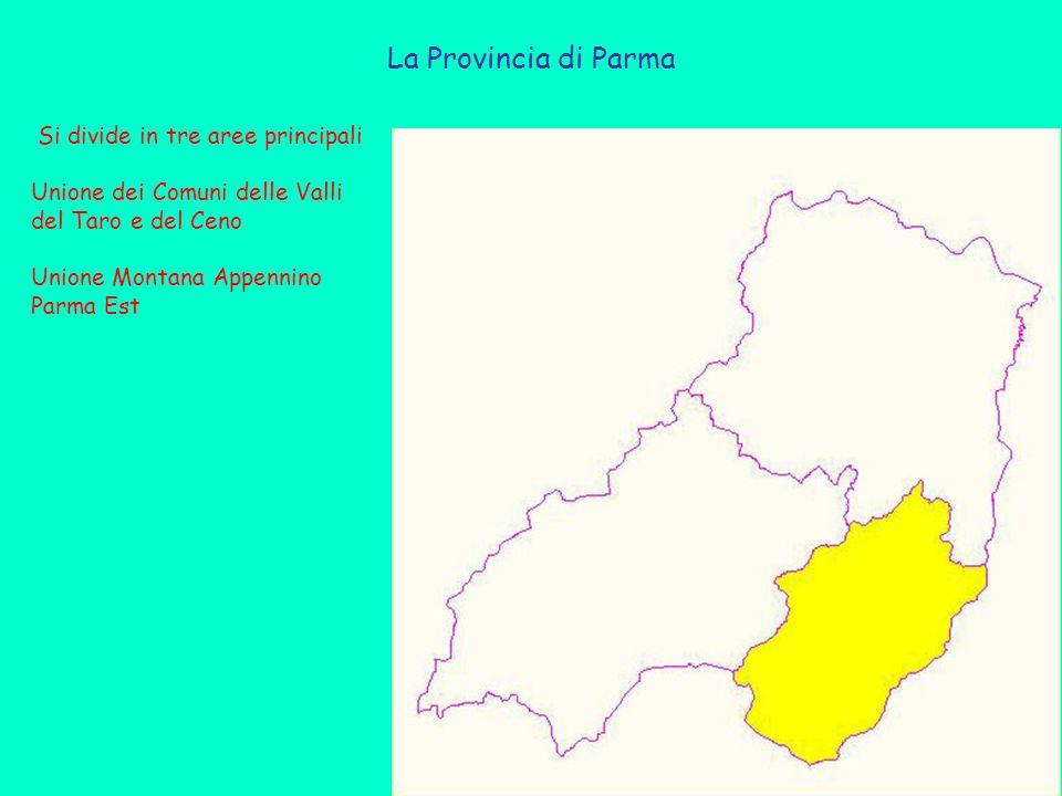La Provincia di Parma Si divide in tre aree principali Unione dei Comuni delle Valli del Taro e del Ceno Unione Montana Appennino Parma Est