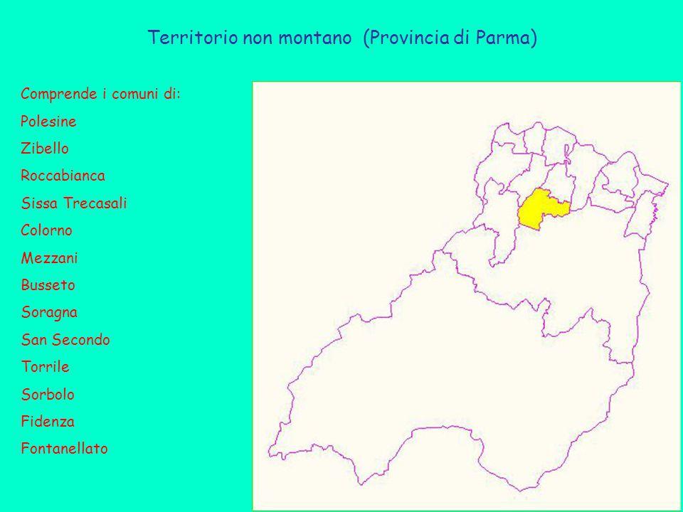 Territorio non montano (Provincia di Parma) Comprende i comuni di: Polesine Zibello Roccabianca Sissa Trecasali Colorno Mezzani Busseto Soragna San Secondo Torrile Sorbolo Fidenza Fontanellato