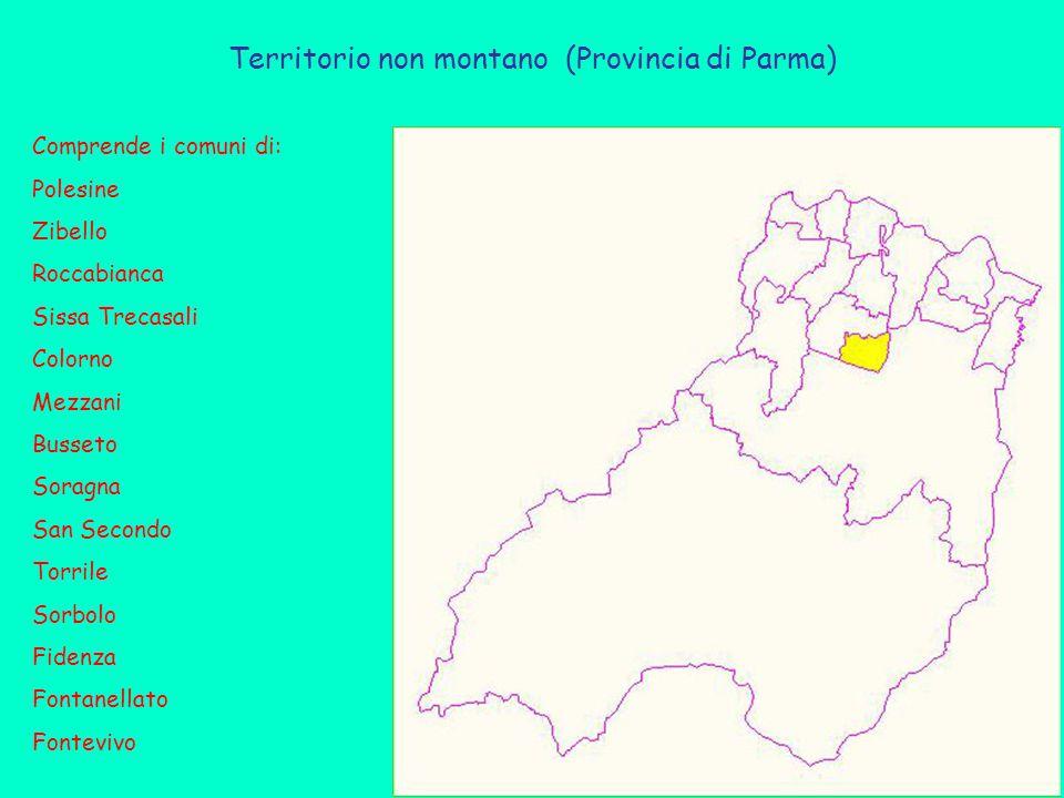 Territorio non montano (Provincia di Parma) Comprende i comuni di: Polesine Zibello Roccabianca Sissa Trecasali Colorno Mezzani Busseto Soragna San Secondo Torrile Sorbolo Fidenza Fontanellato Fontevivo