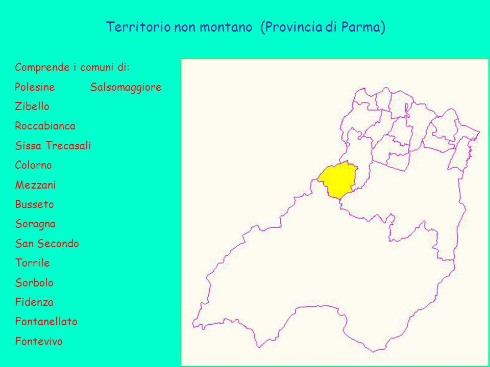 Territorio non montano (Provincia di Parma) Comprende i comuni di: Polesine Salsomaggiore Zibello Roccabianca Sissa Trecasali Colorno Mezzani Busseto Soragna San Secondo Torrile Sorbolo Fidenza Fontanellato Fontevivo
