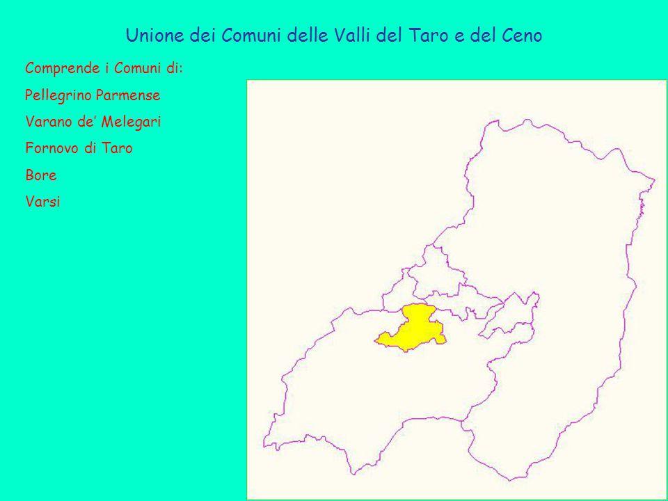 Unione dei Comuni delle Valli del Taro e del Ceno Comprende i Comuni di: Pellegrino Parmense Varano de' Melegari Fornovo di Taro Bore Varsi