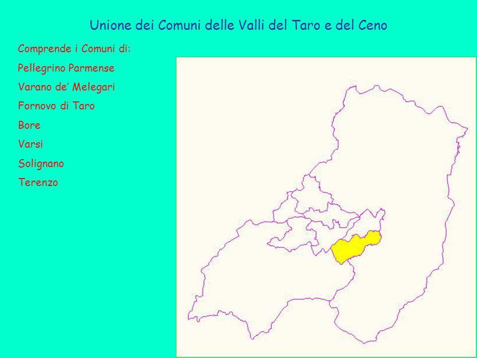 Unione dei Comuni delle Valli del Taro e del Ceno Comprende i Comuni di: Pellegrino Parmense Varano de' Melegari Fornovo di Taro Bore Varsi Solignano Terenzo