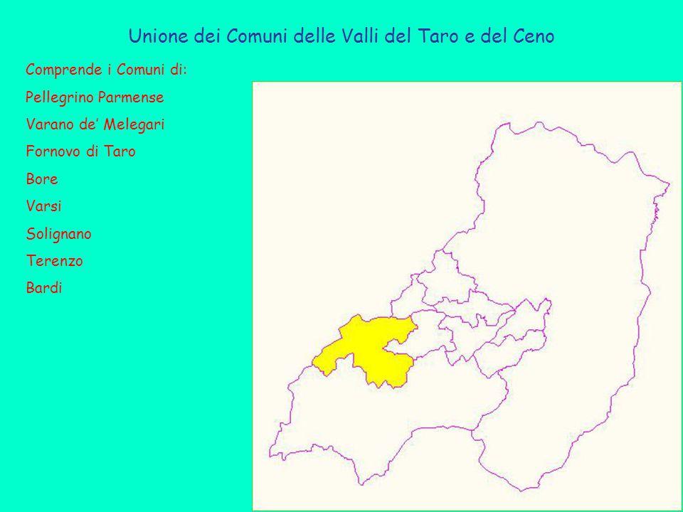Unione dei Comuni delle Valli del Taro e del Ceno Comprende i Comuni di: Pellegrino Parmense Varano de' Melegari Fornovo di Taro Bore Varsi Solignano Terenzo Bardi