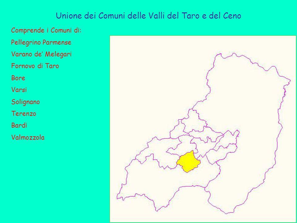Unione dei Comuni delle Valli del Taro e del Ceno Comprende i Comuni di: Pellegrino Parmense Varano de' Melegari Fornovo di Taro Bore Varsi Solignano Terenzo Bardi Valmozzola