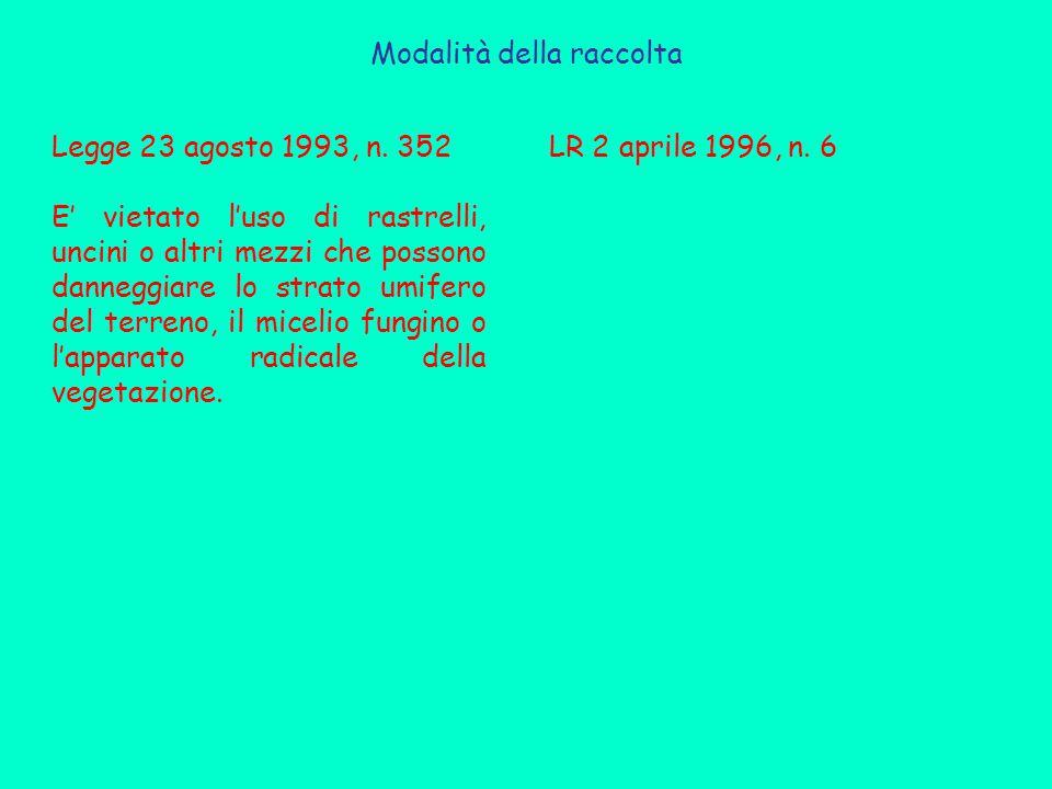 Modalità della raccolta Legge 23 agosto 1993, n.