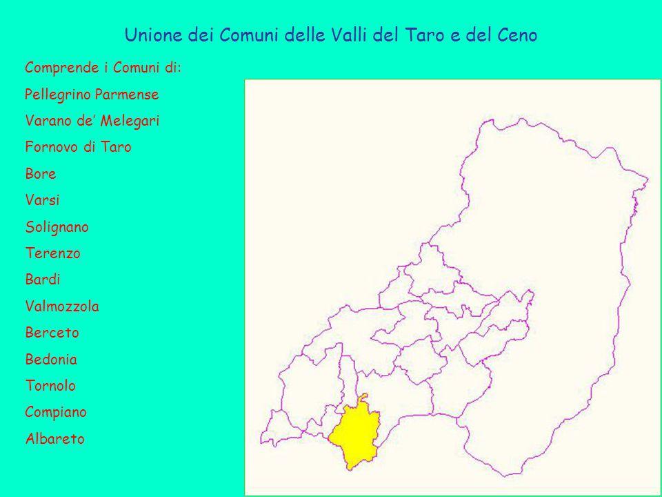 Unione dei Comuni delle Valli del Taro e del Ceno Comprende i Comuni di: Pellegrino Parmense Varano de' Melegari Fornovo di Taro Bore Varsi Solignano