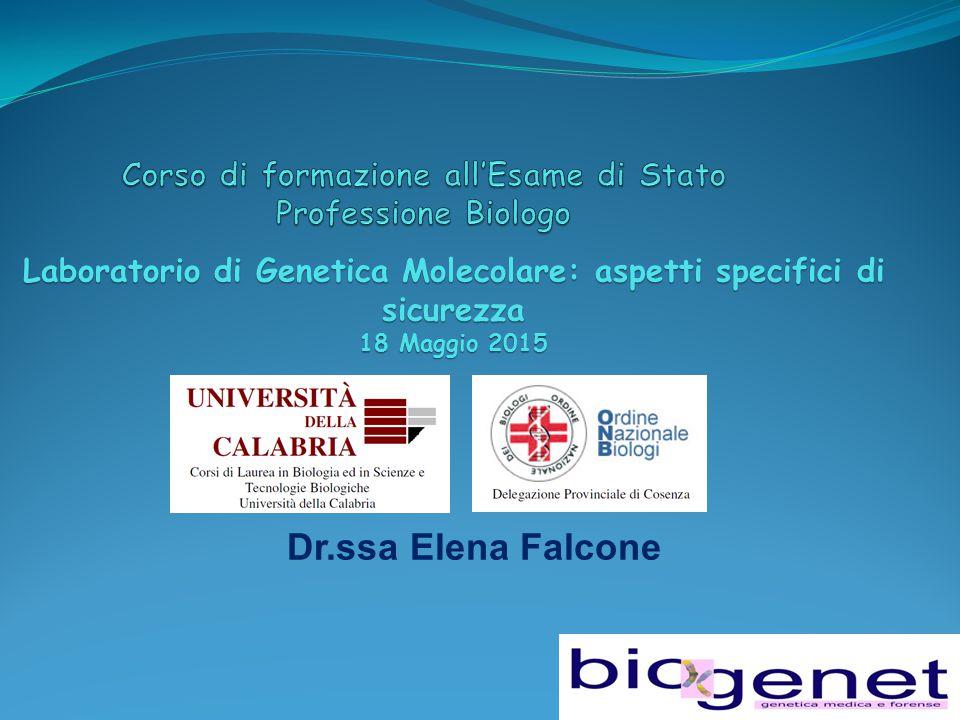Dr.ssa Elena Falcone Laboratorio di Genetica Molecolare: aspetti specifici di sicurezza 18 Maggio 2015