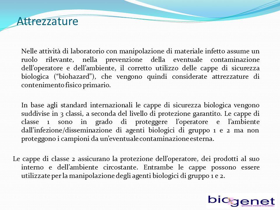 Attrezzature Nelle attività di laboratorio con manipolazione di materiale infetto assume un ruolo rilevante, nella prevenzione della eventuale contami