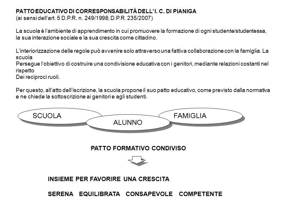 PATTO EDUCATIVO DI CORRESPONSABILITÀ DELL' I. C. DI PIANIGA (ai sensi dell'art. 5 D.P.R. n. 249/1998; D.P.R. 235/2007) La scuola è l'ambiente di appre