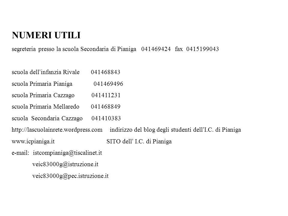 NUMERI UTILI segreteria presso la scuola Secondaria di Pianiga 041469424 fax 0415199043 scuola dell ' infanzia Rivale 041468843 scuola Primaria Pianig