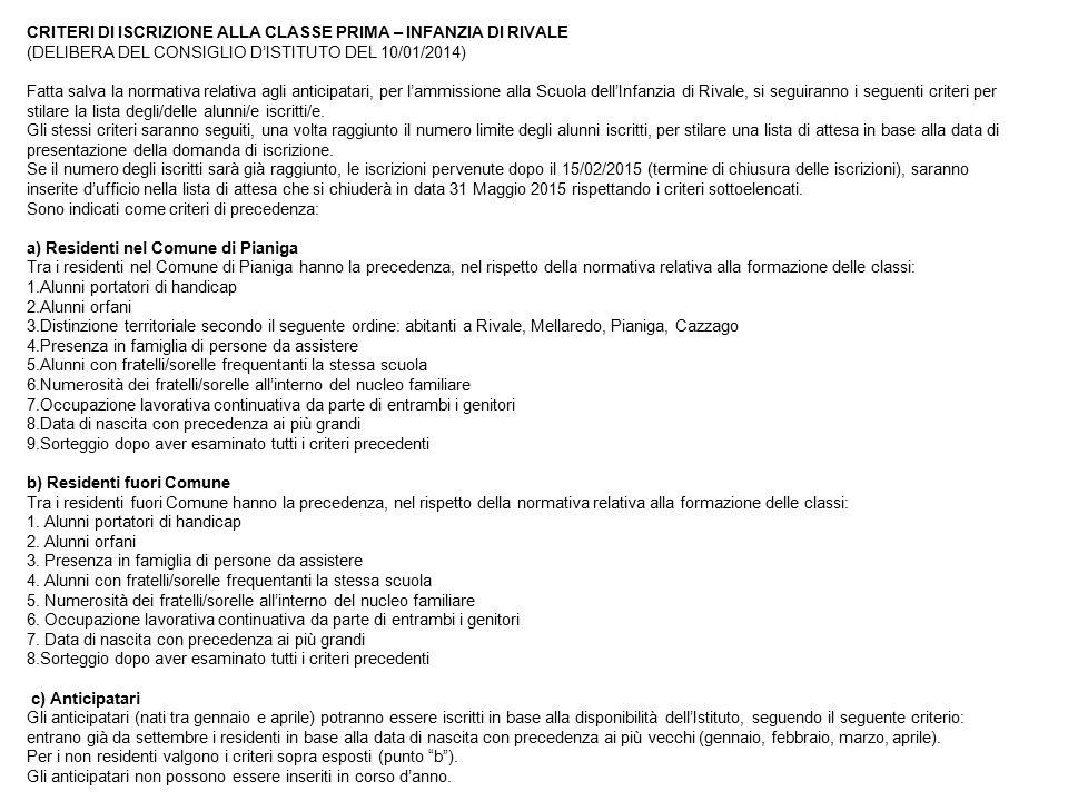 CRITERI DI ISCRIZIONE ALLA CLASSE PRIMA – INFANZIA DI RIVALE (DELIBERA DEL CONSIGLIO D'ISTITUTO DEL 10/01/2014) Fatta salva la normativa relativa agli