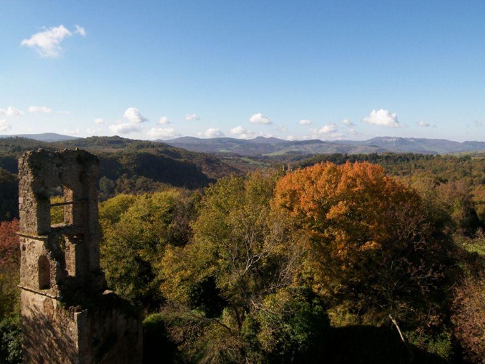 La riserva naturale di Monterano, a circa 50 km da Roma, tra il Lago di Bracciano e la Tolfa, comprende le rovine dell'antico borgo che si stagliano tra una fitta e intricata vegetazione.