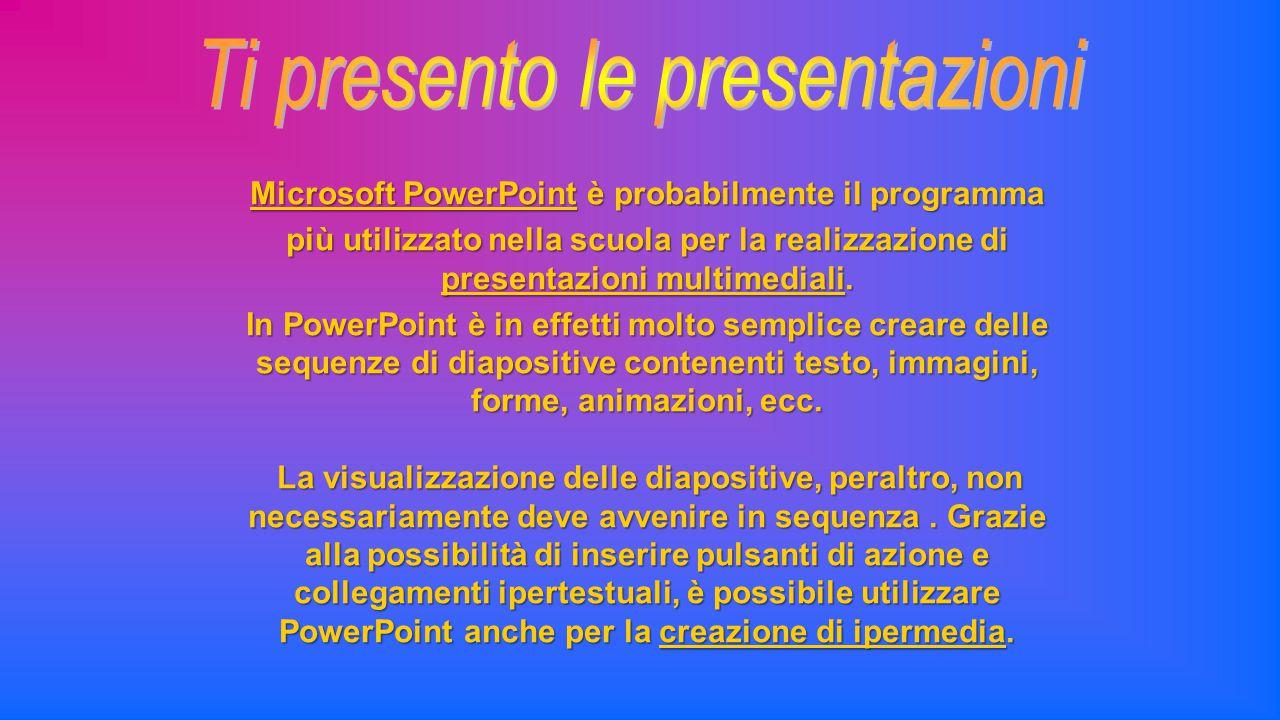 Microsoft PowerPoint è probabilmente il programma più utilizzato nella scuola per la realizzazione di presentazioni multimediali. In PowerPoint è in e
