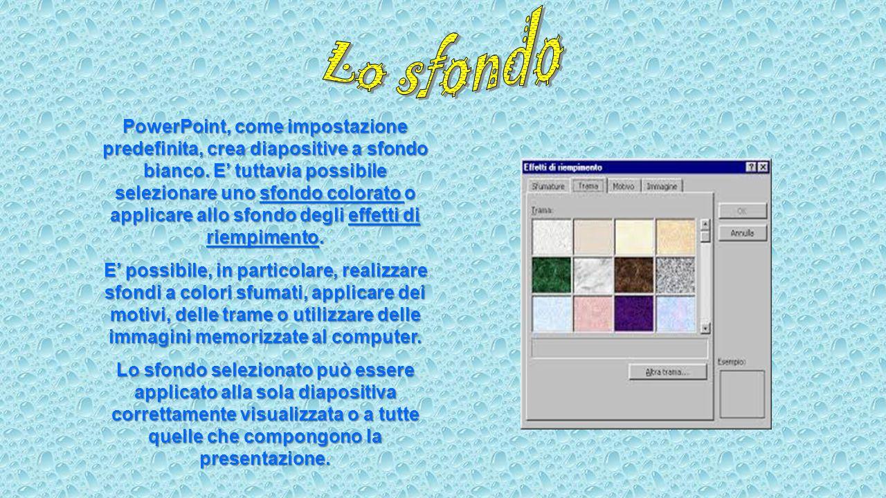 PowerPoint, come impostazione predefinita, crea diapositive a sfondo bianco. E' tuttavia possibile selezionare uno sfondo colorato o applicare allo sf
