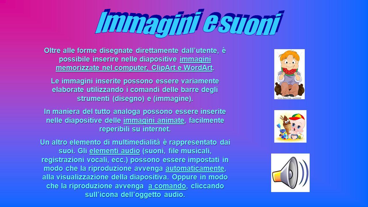 Oltre alle forme disegnate direttamente dall'utente, è possibile inserire nelle diapositive immagini memorizzate nel computer, ClipArt e WordArt. Le i