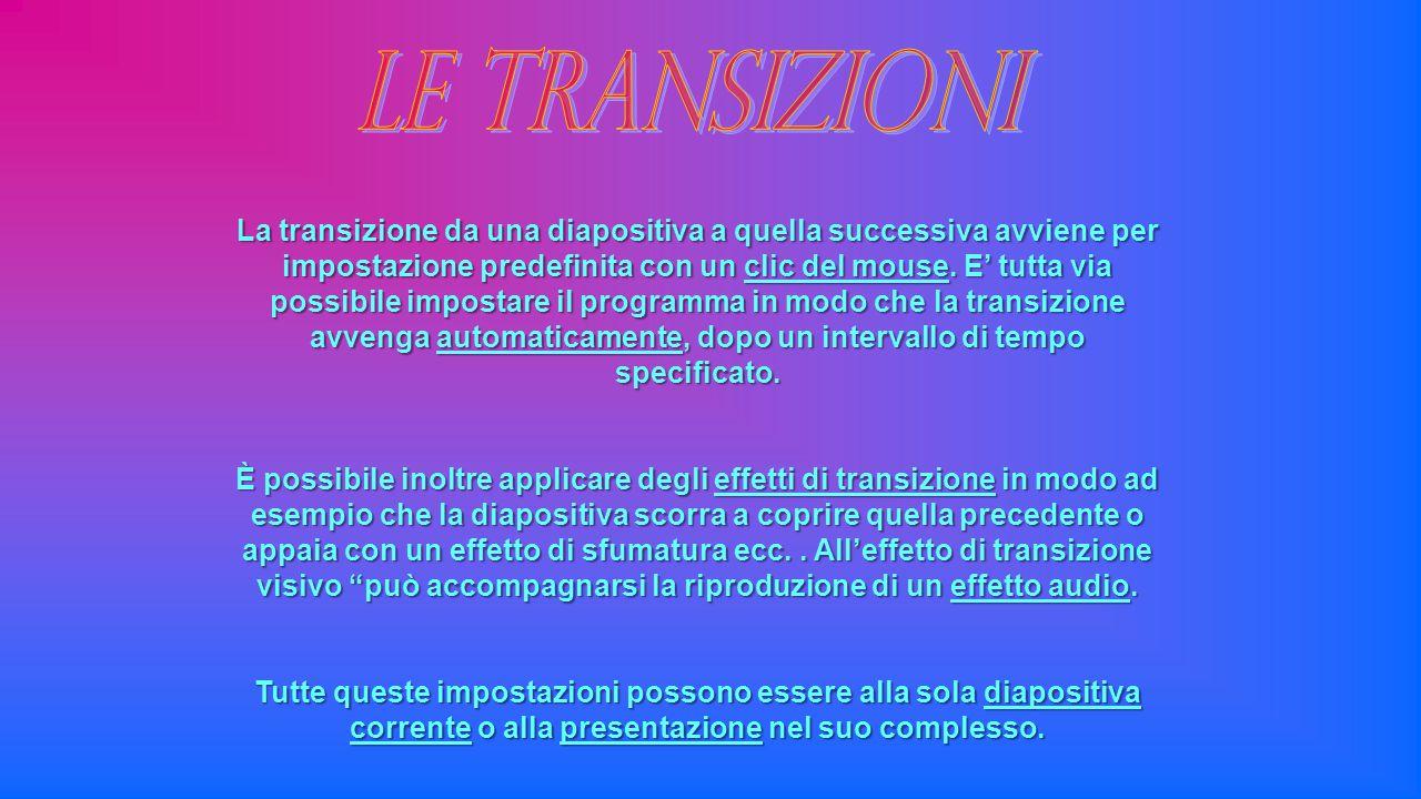 La transizione da una diapositiva a quella successiva avviene per impostazione predefinita con un clic del mouse. E' tutta via possibile impostare il