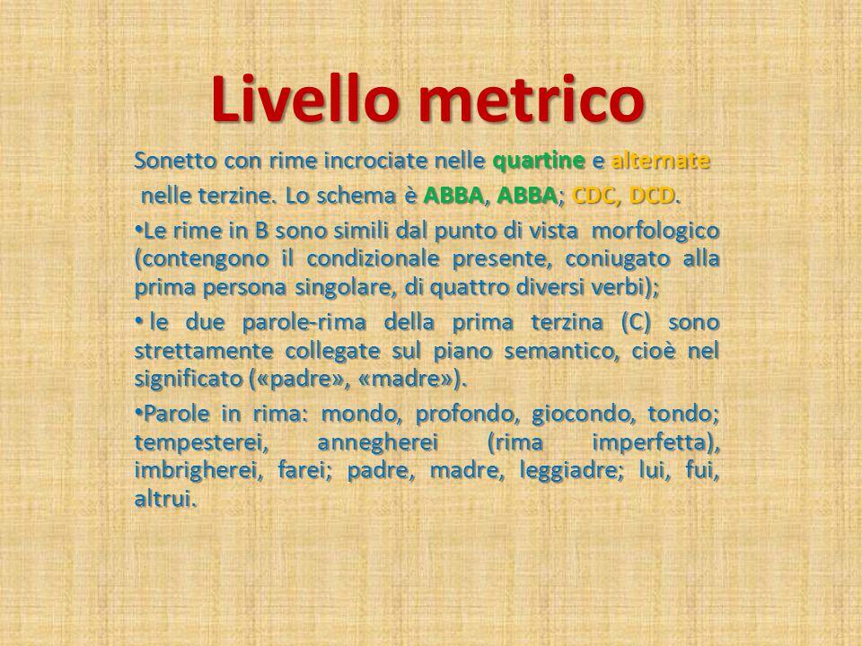 Livello metrico Sonetto con rime incrociate nelle quartine e alternate nelle terzine.