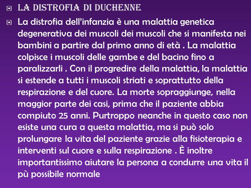  la distrofia di duchenne  La distrofia dell'infanzia è una malattia genetica degenerativa dei muscoli dei muscoli che si manifesta nei bambini a pa