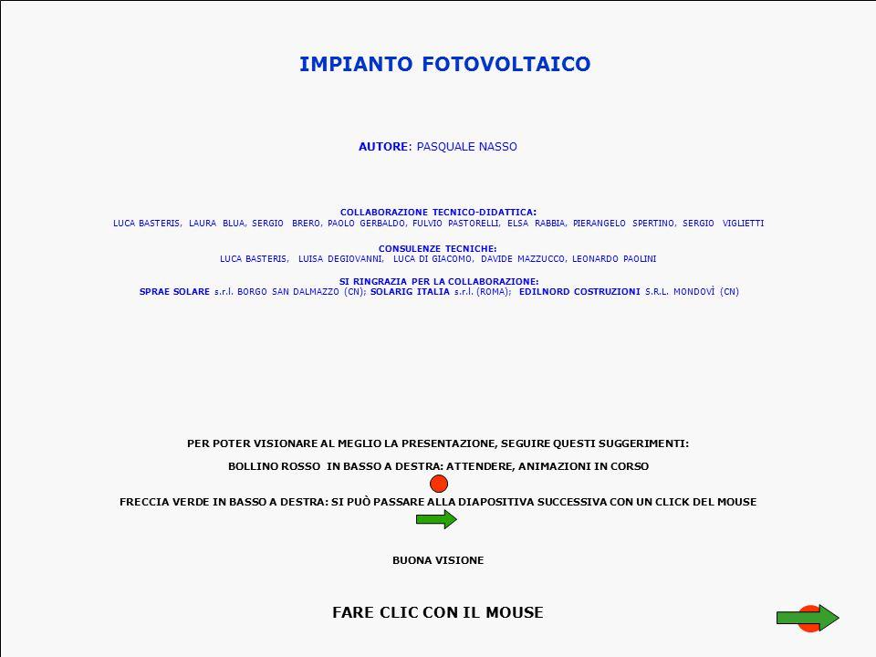 IMPIANTO FOTOVOLTAICO AUTORE: PASQUALE NASSO CONSULENZE TECNICHE: LUCA BASTERIS, LUISA DEGIOVANNI, LUCA DI GIACOMO, DAVIDE MAZZUCCO, LEONARDO PAOLINI