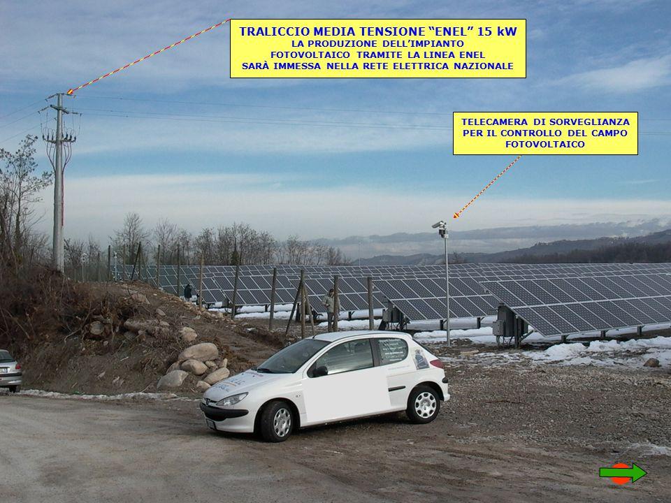 TRALICCIO MEDIA TENSIONE ENEL 15 kW LA PRODUZIONE DELL'IMPIANTO FOTOVOLTAICO TRAMITE LA LINEA ENEL SARÀ IMMESSA NELLA RETE ELETTRICA NAZIONALE TELECAMERA DI SORVEGLIANZA PER IL CONTROLLO DEL CAMPO FOTOVOLTAICO