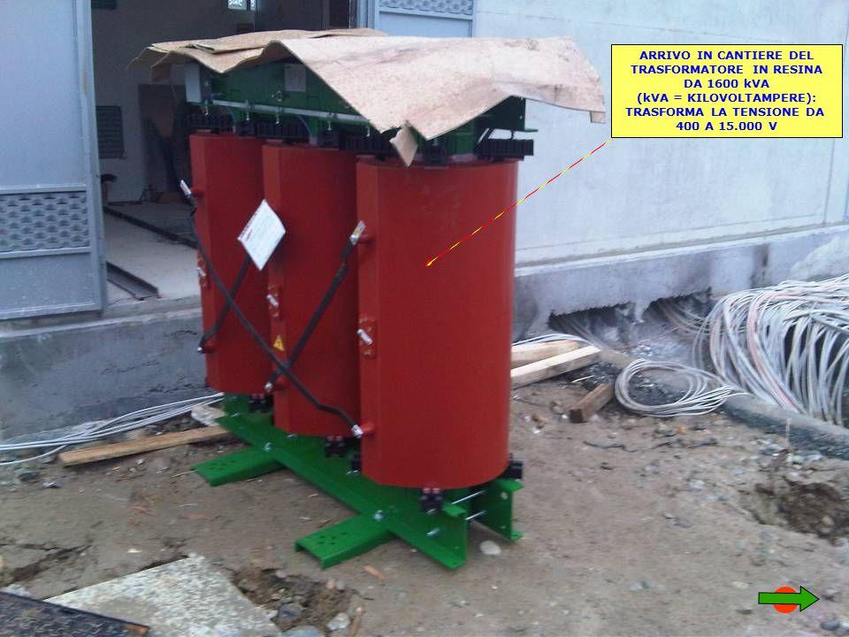 ARRIVO IN CANTIERE DEL TRASFORMATORE IN RESINA DA 1600 kVA (kVA = KILOVOLTAMPERE): TRASFORMA LA TENSIONE DA 400 A 15.000 V