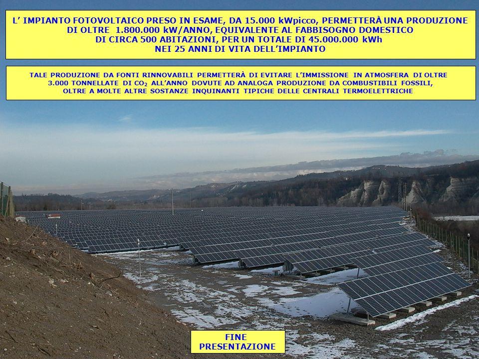 L' IMPIANTO FOTOVOLTAICO PRESO IN ESAME, DA 15.000 kWpicco, PERMETTERÀ UNA PRODUZIONE DI OLTRE 1.800.000 kW/ANNO, EQUIVALENTE AL FABBISOGNO DOMESTICO DI CIRCA 500 ABITAZIONI, PER UN TOTALE DI 45.000.000 kWh NEI 25 ANNI DI VITA DELL'IMPIANTO TALE PRODUZIONE DA FONTI RINNOVABILI PERMETTERÀ DI EVITARE L'IMMISSIONE IN ATMOSFERA DI OLTRE 3.000 TONNELLATE DI CO 2 ALL'ANNO DOVUTE AD ANALOGA PRODUZIONE DA COMBUSTIBILI FOSSILI, OLTRE A MOLTE ALTRE SOSTANZE INQUINANTI TIPICHE DELLE CENTRALI TERMOELETTRICHE FINE PRESENTAZIONE