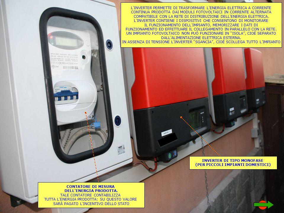 L INVERTER PERMETTE DI TRASFORMARE L ENERGIA ELETTRICA A CORRENTE CONTINUA PRODOTTA DAI MODULI FOTOVOLTAICI IN CORRENTE ALTERNATA COMPATIBILE CON LA RETE DI DISTRIBUZIONE DELL ENERGIA ELETTRICA.