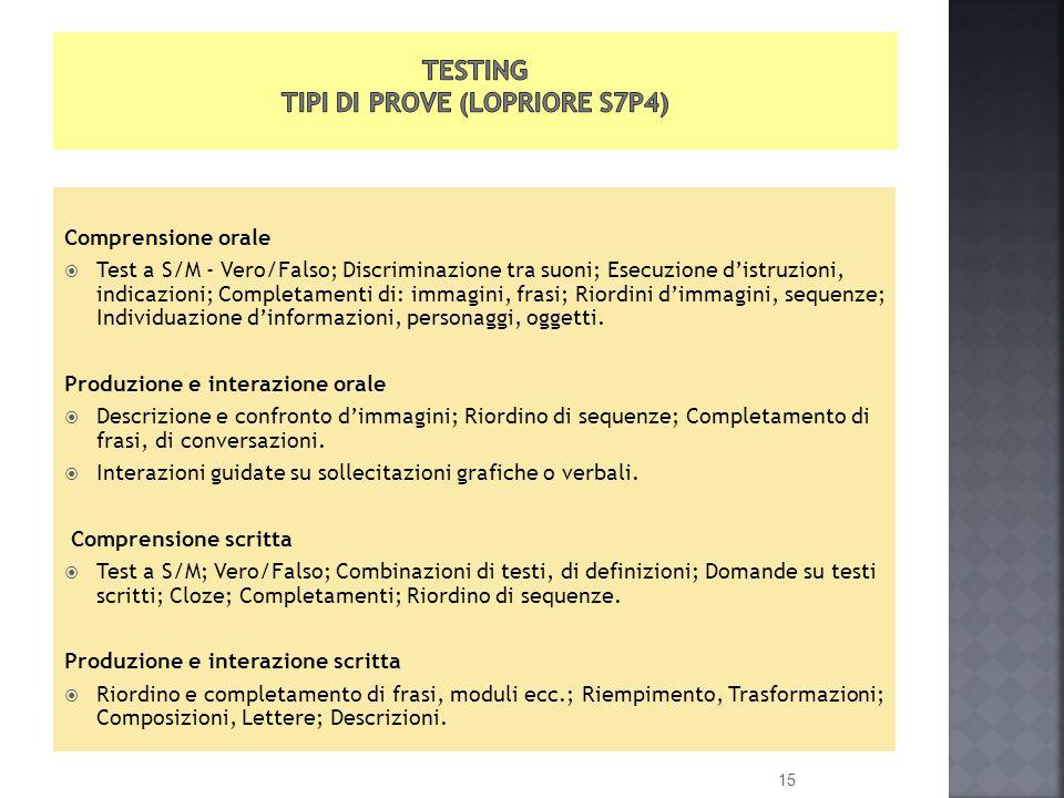 Comprensione orale  Test a S/M - Vero/Falso; Discriminazione tra suoni; Esecuzione d'istruzioni, indicazioni; Completamenti di: immagini, frasi; Riordini d'immagini, sequenze; Individuazione d'informazioni, personaggi, oggetti.