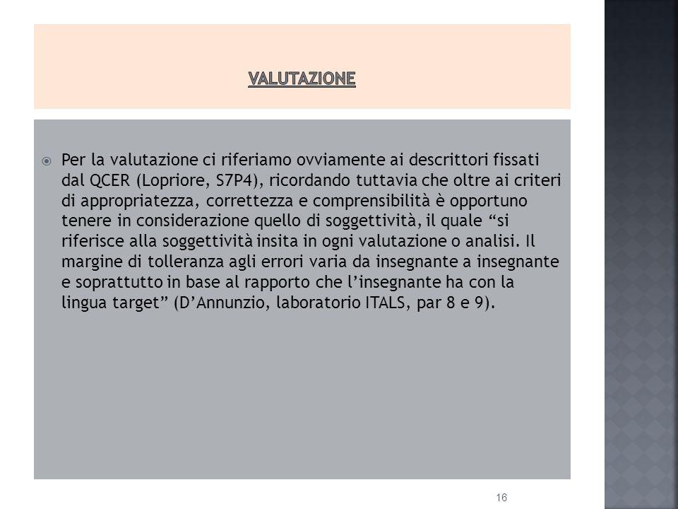  Per la valutazione ci riferiamo ovviamente ai descrittori fissati dal QCER (Lopriore, S7P4), ricordando tuttavia che oltre ai criteri di appropriatezza, correttezza e comprensibilità è opportuno tenere in considerazione quello di soggettività, il quale si riferisce alla soggettività insita in ogni valutazione o analisi.