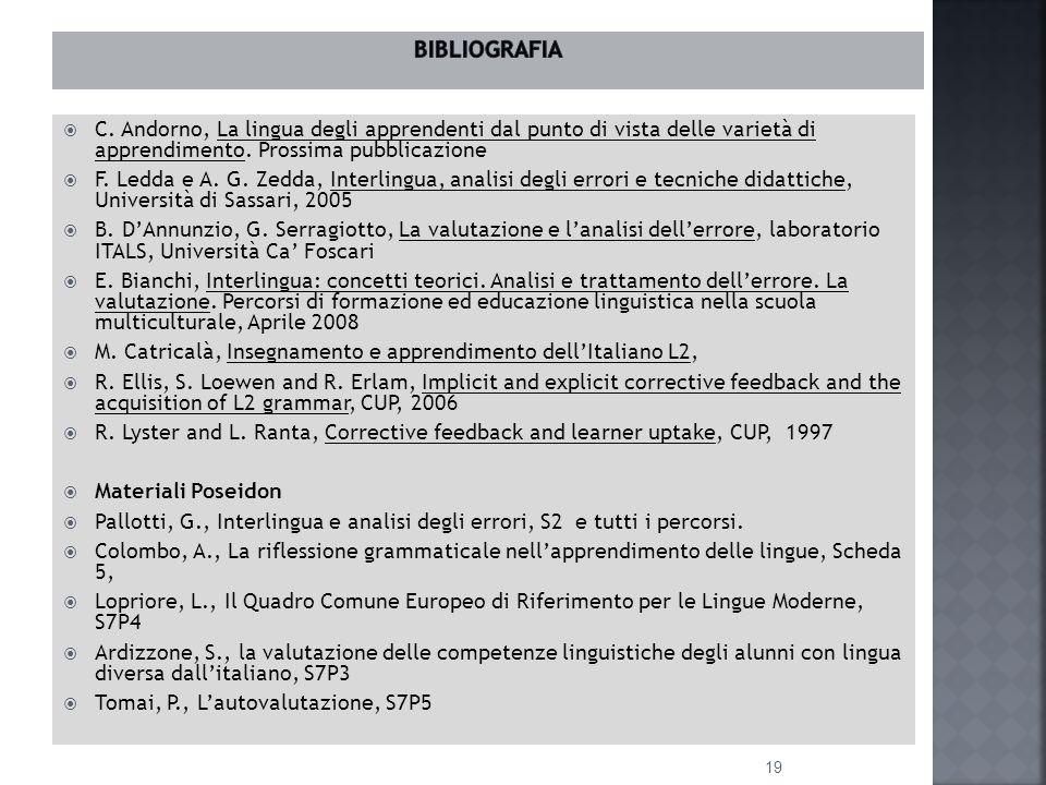  C. Andorno, La lingua degli apprendenti dal punto di vista delle varietà di apprendimento.
