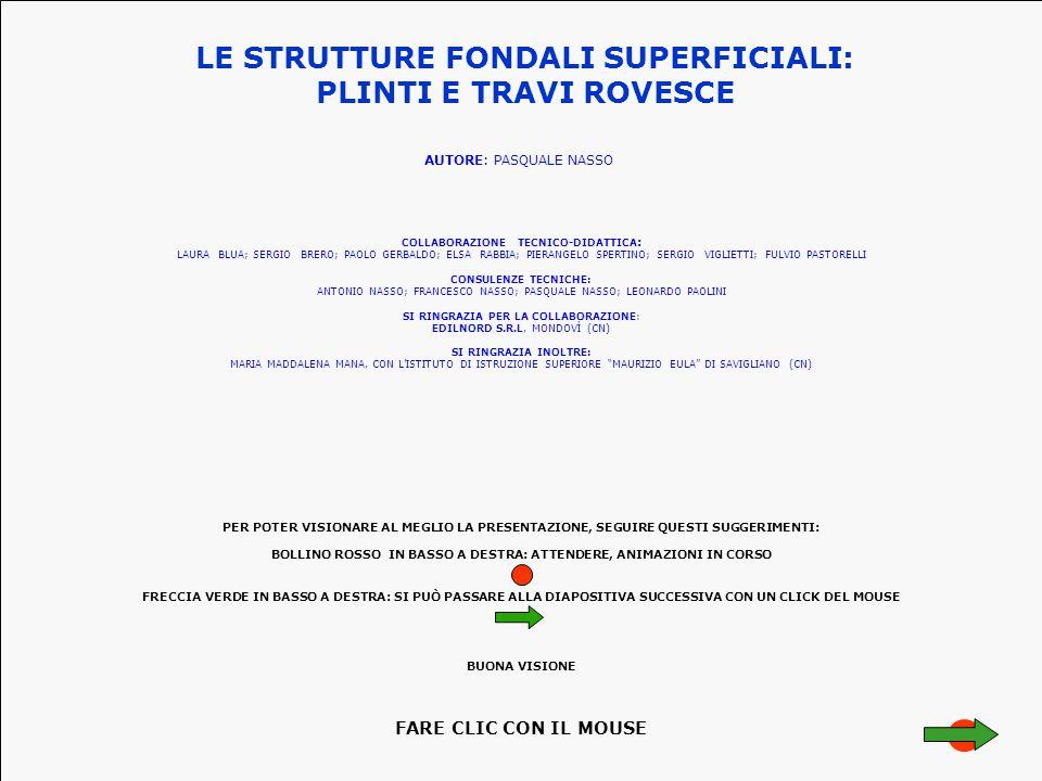 LE STRUTTURE FONDALI SUPERFICIALI: PLINTI E TRAVI ROVESCE AUTORE: PASQUALE NASSO CONSULENZE TECNICHE: ANTONIO NASSO; FRANCESCO NASSO; PASQUALE NASSO; LEONARDO PAOLINI SI RINGRAZIA PER LA COLLABORAZIONE: EDILNORD S.R.L, MONDOVÌ (CN) COLLABORAZIONE TECNICO-DIDATTICA : LAURA BLUA; SERGIO BRERO; PAOLO GERBALDO; ELSA RABBIA; PIERANGELO SPERTINO; SERGIO VIGLIETTI; FULVIO PASTORELLI SI RINGRAZIA INOLTRE: MARIA MADDALENA MANA, CON L'ISTITUTO DI ISTRUZIONE SUPERIORE MAURIZIO EULA DI SAVIGLIANO (CN) PER POTER VISIONARE AL MEGLIO LA PRESENTAZIONE, SEGUIRE QUESTI SUGGERIMENTI: BOLLINO ROSSO IN BASSO A DESTRA: ATTENDERE, ANIMAZIONI IN CORSO FRECCIA VERDE IN BASSO A DESTRA: SI PUÒ PASSARE ALLA DIAPOSITIVA SUCCESSIVA CON UN CLICK DEL MOUSE BUONA VISIONE FARE CLIC CON IL MOUSE