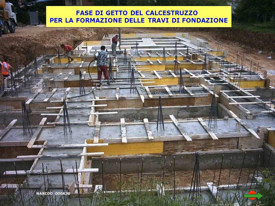 FASE DI GETTO DEL CALCESTRUZZO PER LA FORMAZIONE DELLE TRAVI DI FONDAZIONE