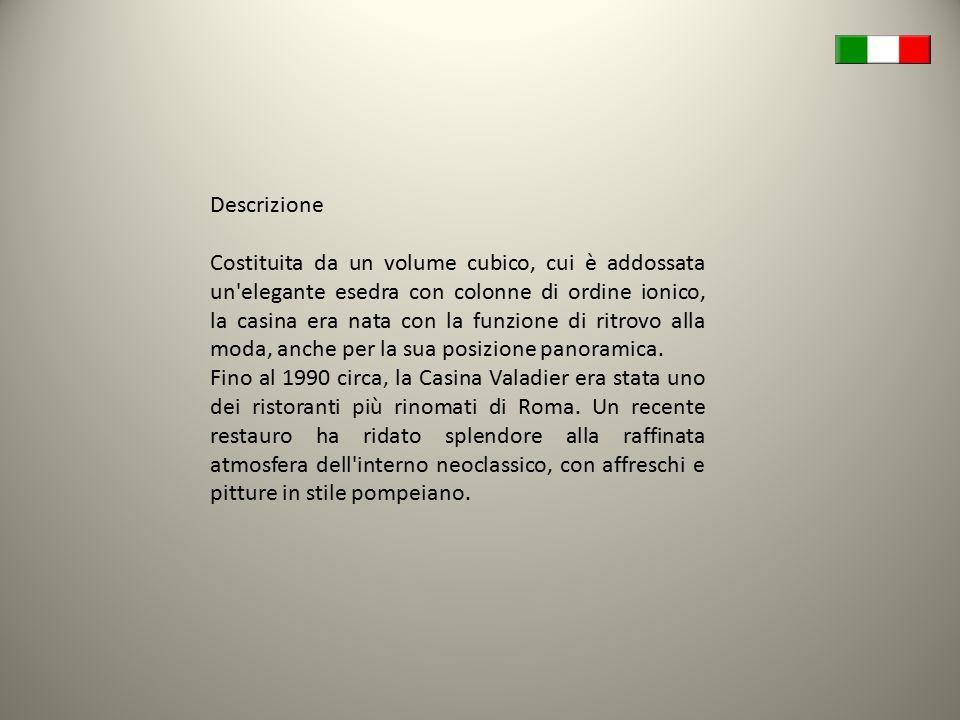 Descrizione Costituita da un volume cubico, cui è addossata un'elegante esedra con colonne di ordine ionico, la casina era nata con la funzione di rit