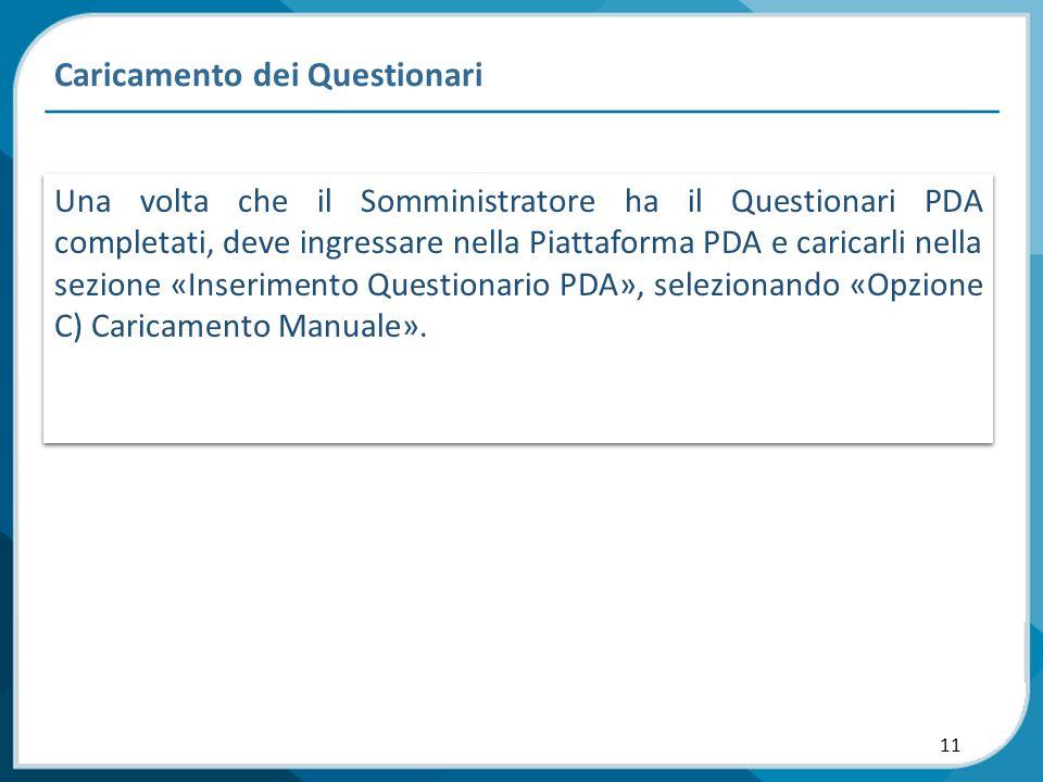 11 Caricamento dei Questionari Una volta che il Somministratore ha il Questionari PDA completati, deve ingressare nella Piattaforma PDA e caricarli ne