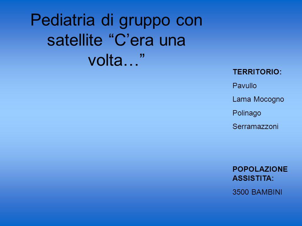 Pediatria di gruppo con satellite C'era una volta… TERRITORIO: Pavullo Lama Mocogno Polinago Serramazzoni POPOLAZIONE ASSISTITA: 3500 BAMBINI