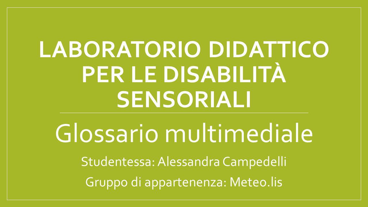 LABORATORIO DIDATTICO PER LE DISABILITÀ SENSORIALI Glossario multimediale Studentessa: Alessandra Campedelli Gruppo di appartenenza: Meteo.lis