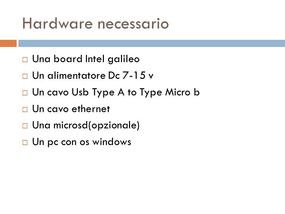 Hardware necessario  Una board Intel galileo  Un alimentatore Dc 7-15 v  Un cavo Usb Type A to Type Micro b  Un cavo ethernet  Una microsd(opzion