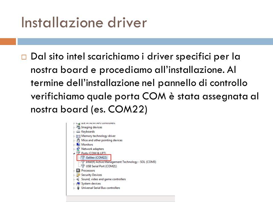 Installazione driver  Dal sito intel scarichiamo i driver specifici per la nostra board e procediamo all'installazione. Al termine dell'installazione