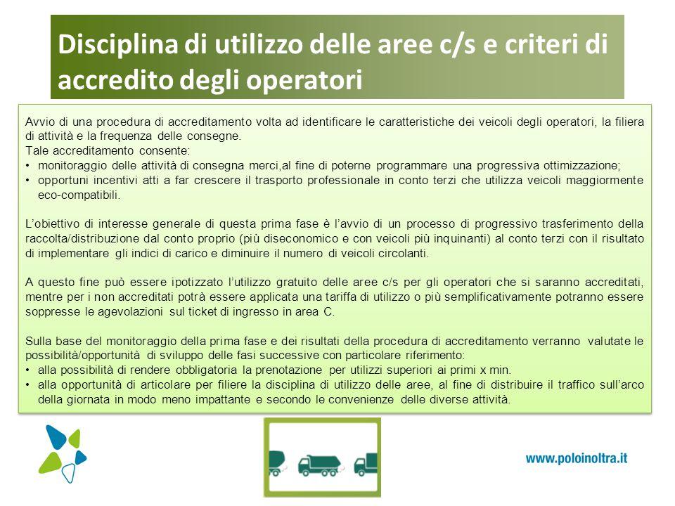 Disciplina di utilizzo delle aree c/s e criteri di accredito degli operatori Avvio di una procedura di accreditamento volta ad identificare le caratte