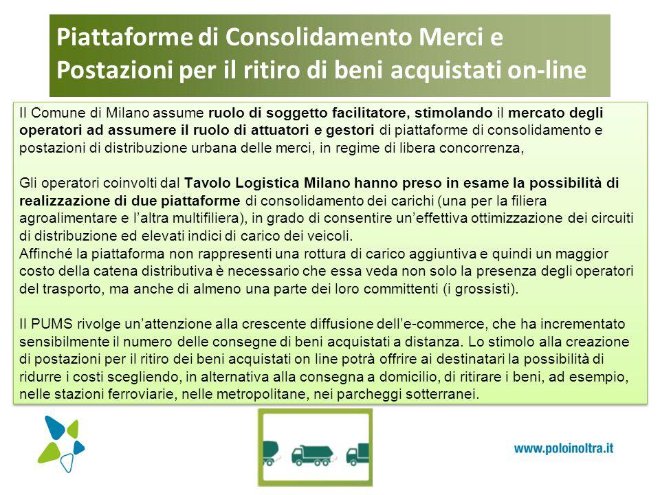 Piattaforme di Consolidamento Merci e Postazioni per il ritiro di beni acquistati on-line Il Comune di Milano assume ruolo di soggetto facilitatore, s