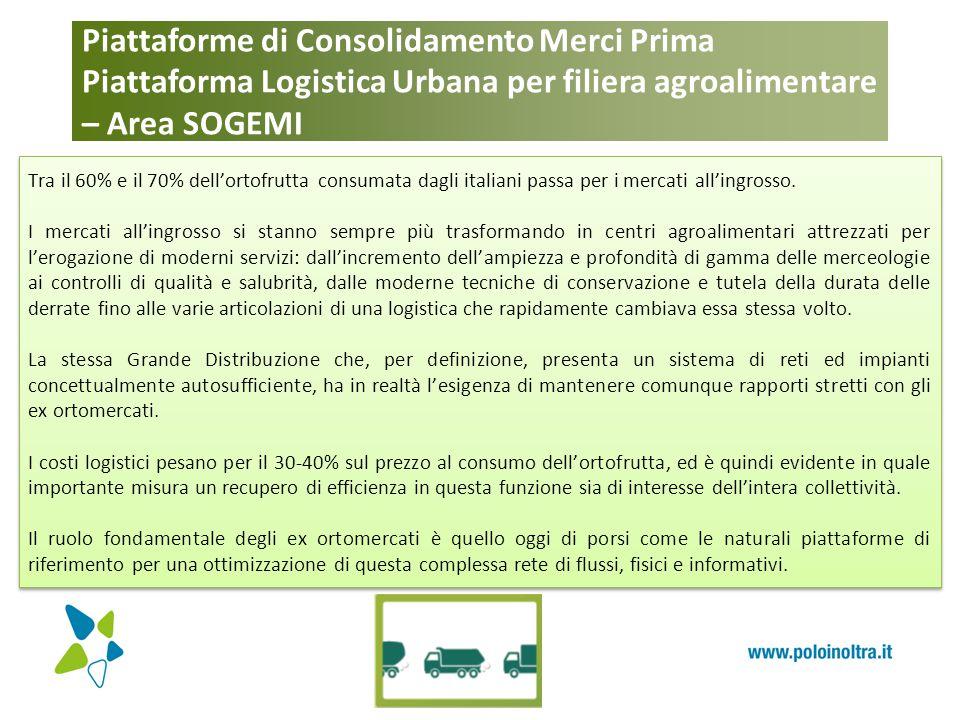Piattaforme di Consolidamento Merci Prima Piattaforma Logistica Urbana per filiera agroalimentare – Area SOGEMI Tra il 60% e il 70% dell'ortofrutta co