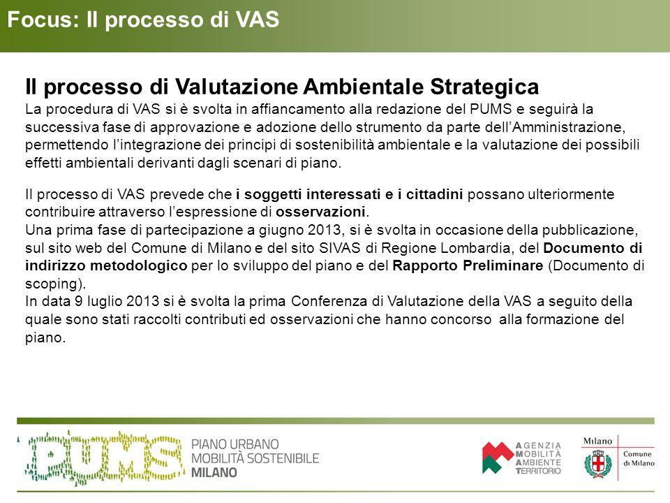 Focus: Il processo di VAS Il processo di Valutazione Ambientale Strategica La procedura di VAS si è svolta in affiancamento alla redazione del PUMS e