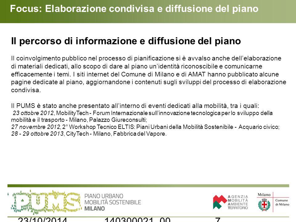 Focus: Elaborazione condivisa e diffusione del piano 723/10/2014140300021_00 Il percorso di informazione e diffusione del piano Il coinvolgimento pubb